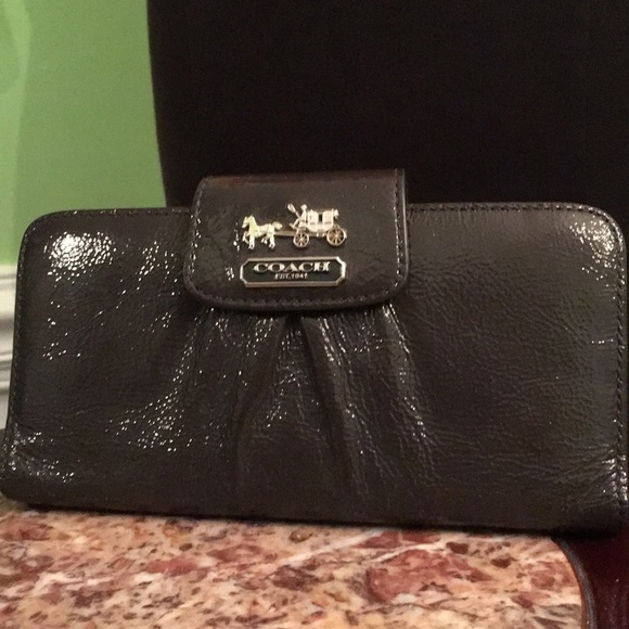 Coach Handbags - Coach gray patent leather wallet